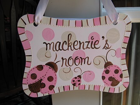 Door Sign Ladybug Pink and Brown