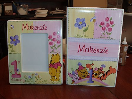 First Birthday Picture Frame and Album Pooh Flower