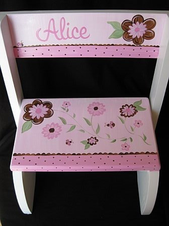 Chair Flip Step Stool Love Bugs Pink and Brown