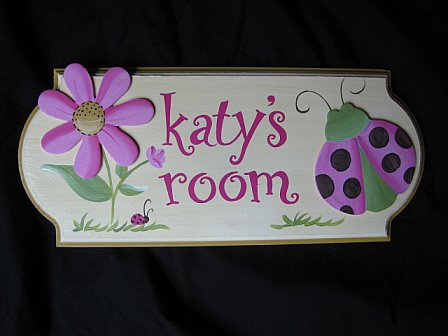 Door Sign Pink and Yellow Ladybug