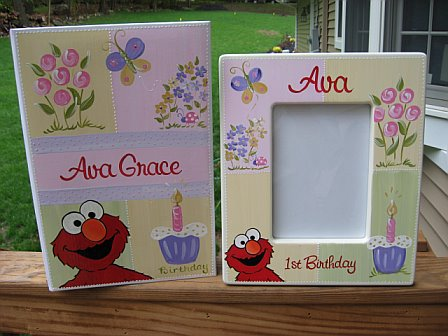 First Birthday Picture Frame and Album Elmo Flower