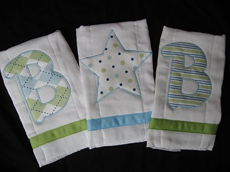 "Personalized Initial Burp Cloths ""Blake"""