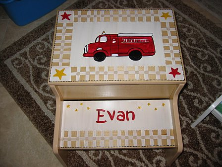 Storage Step Stool Vintage Firetruck