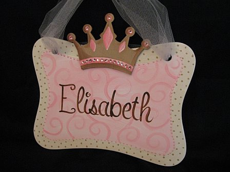 Door Sign Princess Bling Pink and Brown