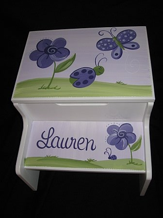 Storage Step Stool Purple Luv Bugs