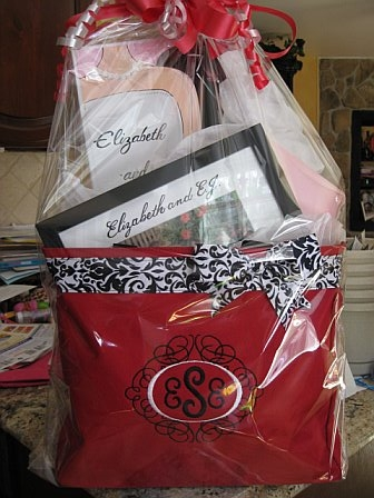 Monogrammed Bridal Shower Gift Tote Basket