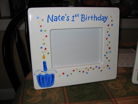 Picture Frame First Birthday Boy Cupcake