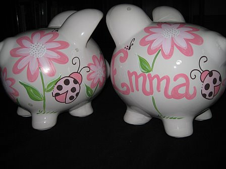 Piggy Bank Lucy Pink and Brown