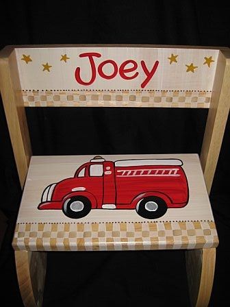 Chair Flip Step Stool Vintage Firetruck