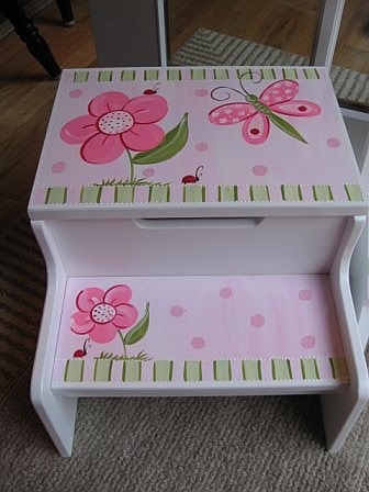 Storage Step Stool Pink Dragonfly