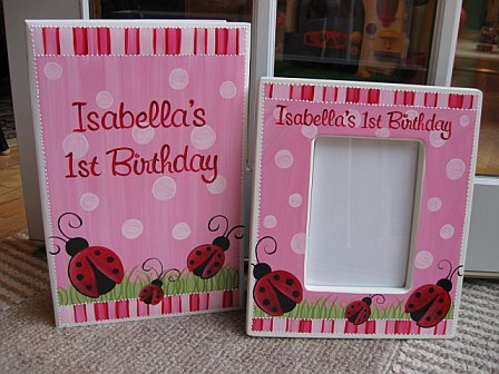 First Birthday Picture Frame and Matching Photo Album Red Ladybug Pink Polka Dot