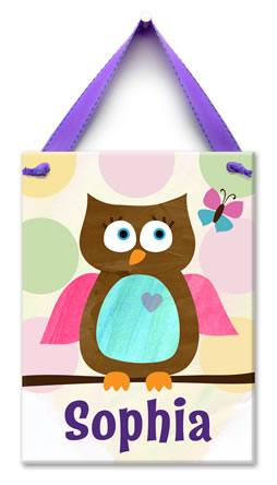Hanging Ceramic Wall Tile owl sophia