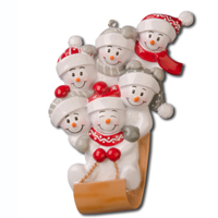Ornament Sled Family 6