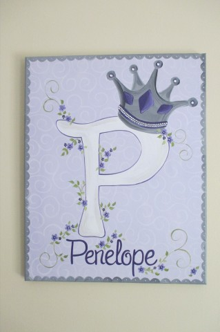 canvas wall art initial princess crown lavendar and grey
