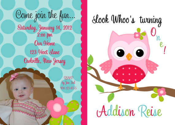 Invitation Print Yourself Addison Owl with Photo option