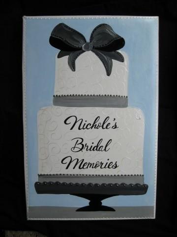 Bridal Photo Album Blue Bow Cake