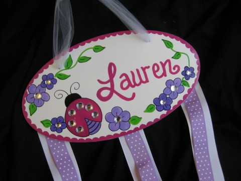 Bow holder Bling Red and Purple ladybug