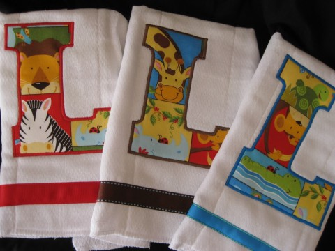 Initial Burp Cloth set of three Jungle Animals