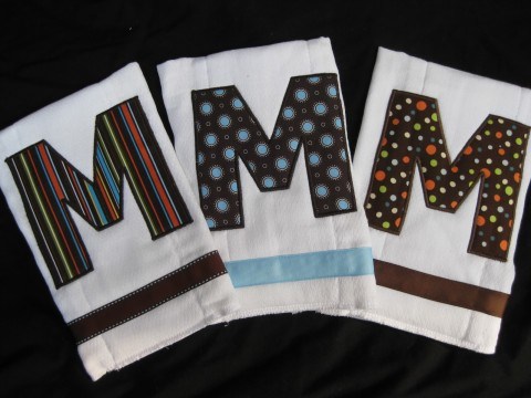 Burp Cloth set of three Mod Mocha