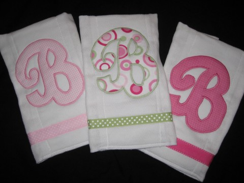 Burp Cloth set of three Pink Polka