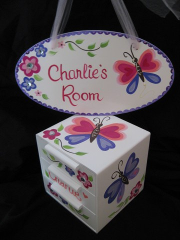 Jewelry Box and Door Sign Butterfly Bling