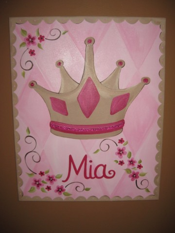 Custom Canvas Pink and Brown Bling Crown