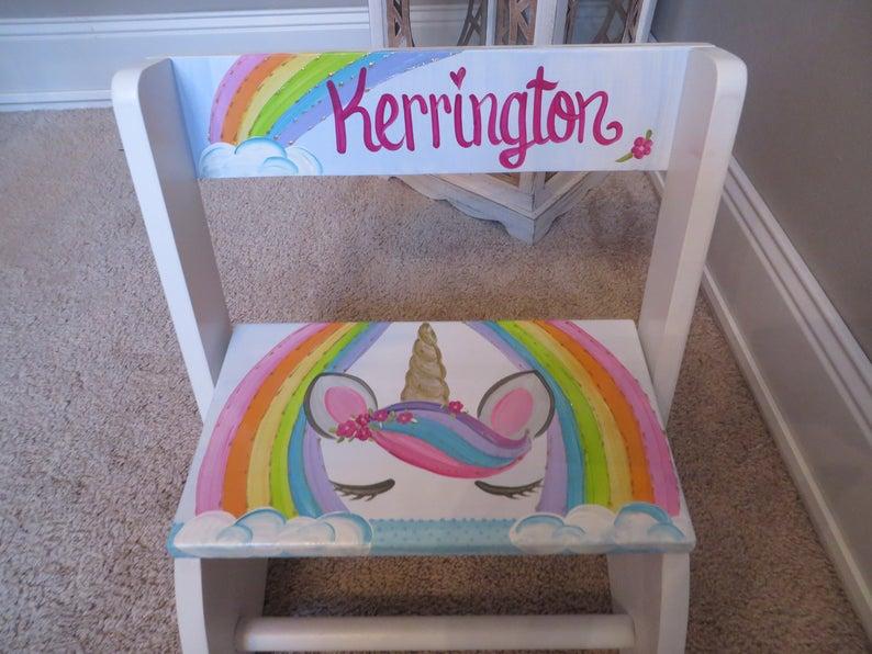 Chair Flip Stool Rainbow Sparkle Unicorn