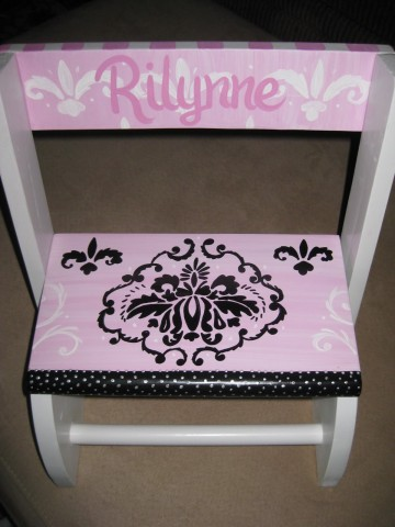 Chair Flip Step Stool Pink and Black Damasck