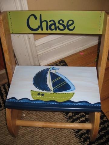 Chair Flip Step Stool Zachary Nautical