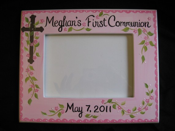 Picture Frame 5x7 Pink and Brown Communion