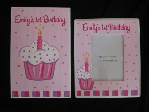 Photo Album  and 5x7 Picture Frame Pink Cupcake
