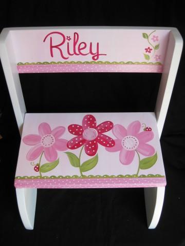 Chair Flip Step Stool Pink Daisy Ladybug