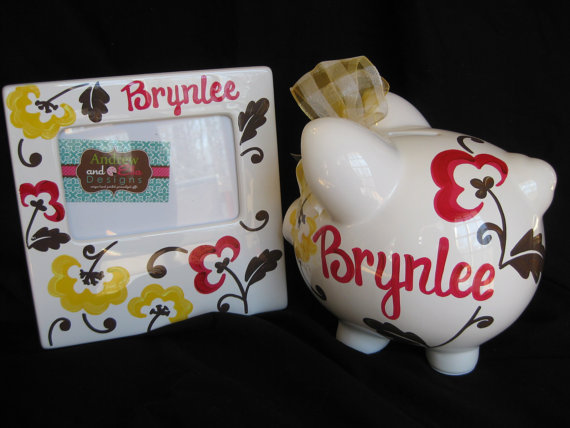 Piggy Bank and 4x6 Picture Frame Set