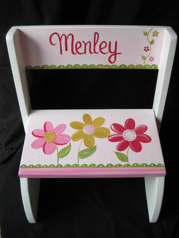 Chair Flip Step Stool Delicate Pink Daisy Garden