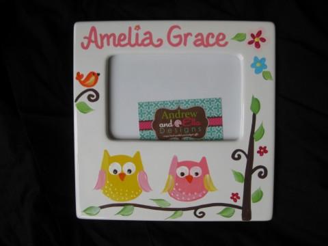 Picture Frame 5x7 Ceramic Dena Owl