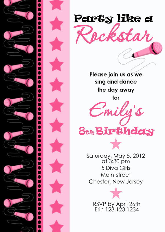 Invitation Print Yourself Diva Rockstar