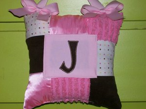 Initial Tooth Pillow Brown and Pink Polka dots