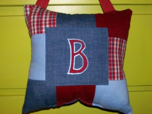 Initial Tooth Pillow Red and Blue