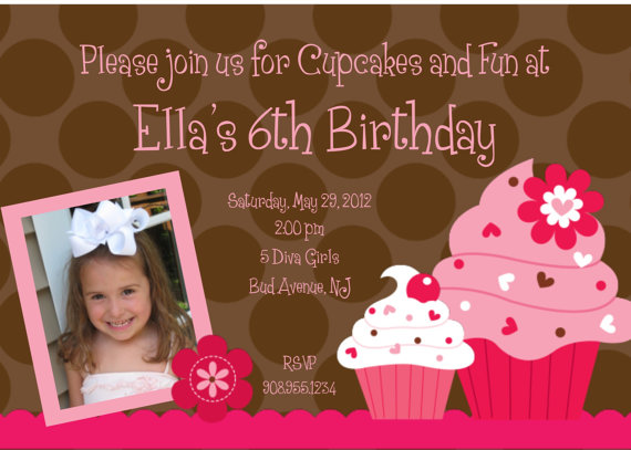 Invitation Print Yourself Ella Cupcake