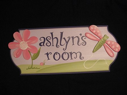 Door Sign Purple Dragonfly Design