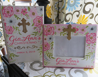 Communion or Christening Fame and Photo Album Floral