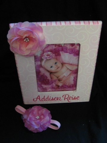 Picture Frame 5x7 Pink Flower Bling and matching headband set