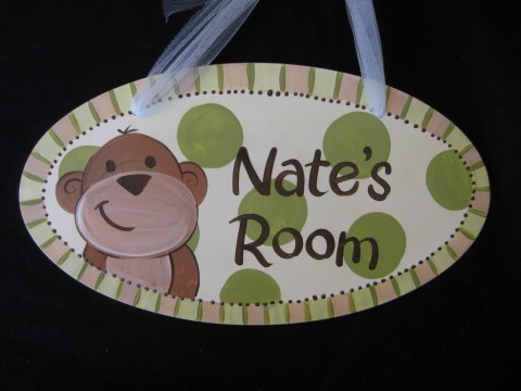 Door Sign Hanging Green Monkey