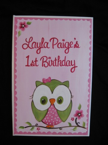 Photo Album Pink and Green Happy Owl