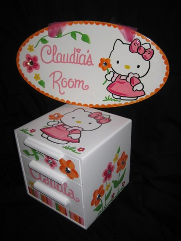 Jewelry Box and Door Sign Set Hello Kitty