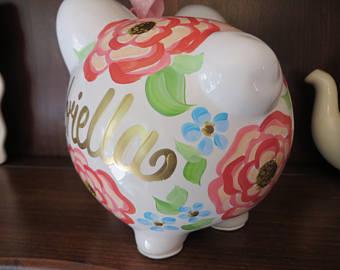 Piggy Bank Gabriella Gold Floral
