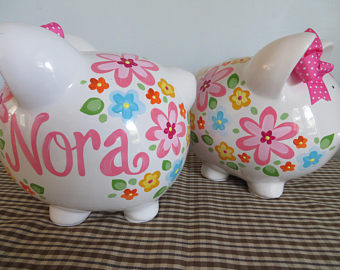 Piggy Bank ?Nora multi bright floral