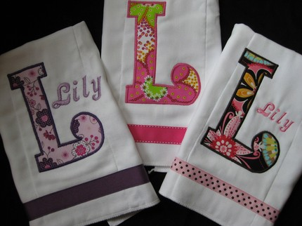 Initial Burp Cloth Lily set of 3