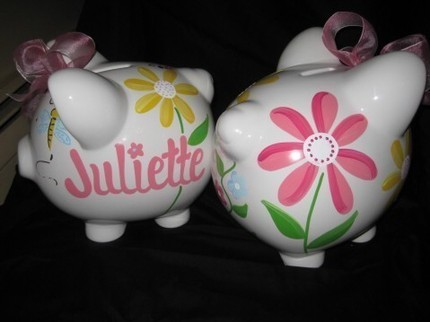 Piggy Bank Green Daisy Garden
