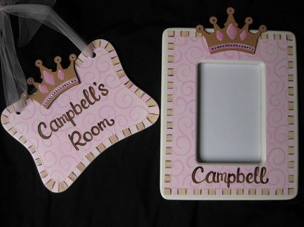 Gift Set 4x6 picture frame and Door Sign Bling Crown
